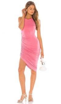 Lovers + Friends Eva Midi Dress | pink ruched party frock