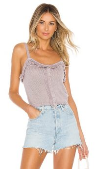 Lovers + Friends Ingrid Top Dusty Lilac | strappy rib knit tops