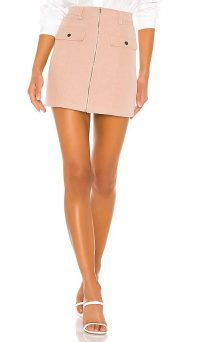 Lovers + Friends Jayne Skirt in Blush | pink front zip mini
