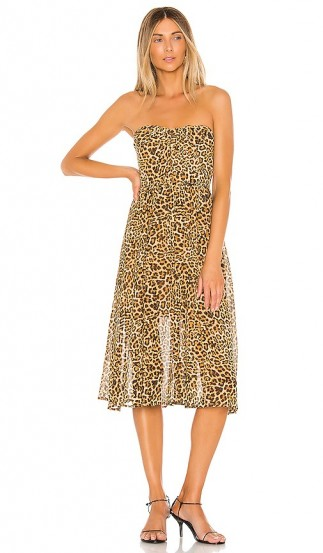 Lovers + Friends Marcus Midi Dress Cheetah Print