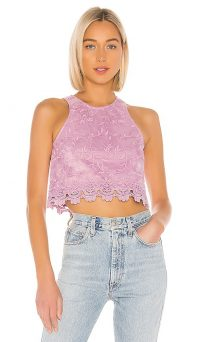 Lovers + Friends Milo Top in Lilac Purple | embroidered tops