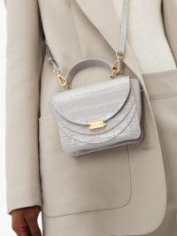 WANDLER Luna light-grey mini crocodile-effect leather cross-body bag