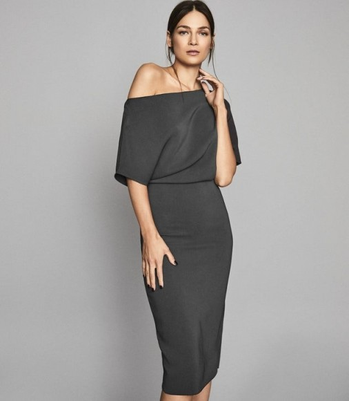 REISS MADISON SLIM FIT DRESS SLATE GREY ~ effortlessly chic ~ angled necklines
