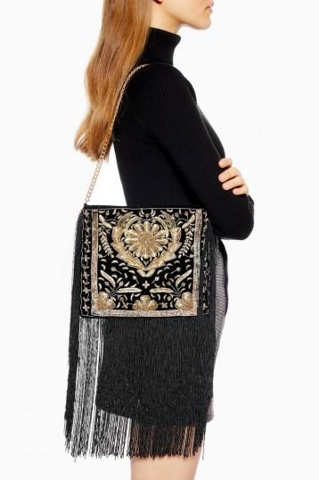 Topshop MAGGIE Tassle Shoulder Bag in Black