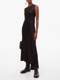 ANN DEMEULEMEESTER Magya asymmetric crinkled-charmeuse midi dress in black