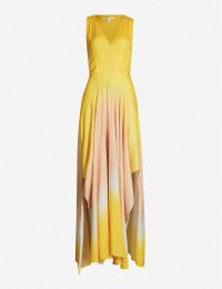 MAJE Resia tie-dye V-neck sleeveless satin maxi dress in yellow