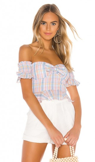 MAJORELLE Olympia Top Pastel Plaid