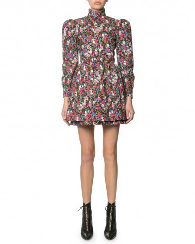 Marc Jacobs The Prairie Floral-Print Dress Black Pattern | puffed sleeved dresses with high neck - flipped