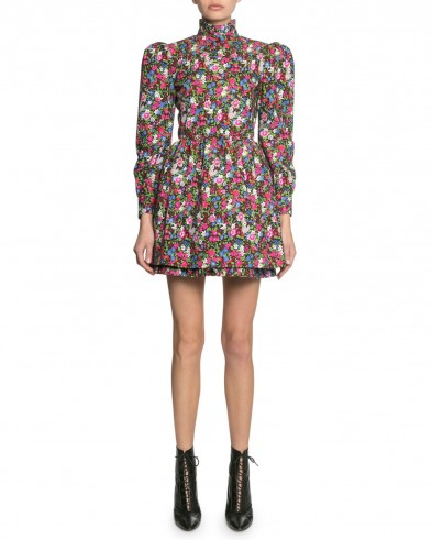 Marc Jacobs The Prairie Floral-Print Dress Black Pattern | puffed sleeved dresses with high neck