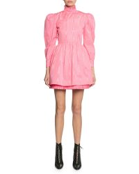 Marc Jacobs The Prairie Moire Dress in Pink | leg-of-mutton sleeve dresses