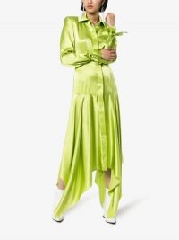 Matériel Asymmetric Green Silk Shirt Dress