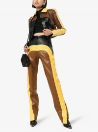 Matériel Colour Block Straight Leg Trousers in brown / yellow / black