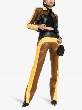 Matériel Colour Block Straight Leg Trousers in brown / yellow / black - flipped