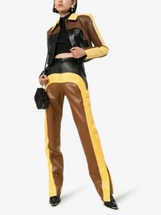 Matériel Colour Block Straight Leg Trousers in brown / yellow / black