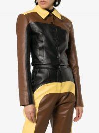 Matériel Panelled Button-Up Leather Jacket | luxe jackets | retro colors