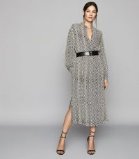REISS MELLIE BEAD PRINT MIDI DRESS NEUTRAL ~ effortlessly chic clothing