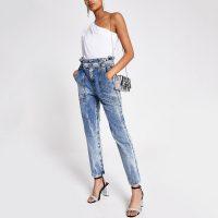 River Island Mid blue acid wash paperbag waist jeans
