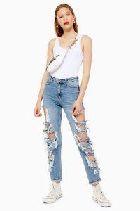 Topshop Mid Blue Super Side Rip Mom Jeans | destroyed denim