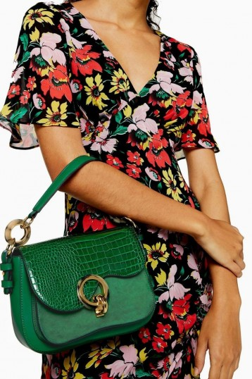 Topshop MILAN Green Crocodile Shoulder Bag