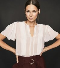 REISS MILLIE SEMI SHEER PLEAT DETAILED TOP IVORY ~ feminine flutter sleeve blouse