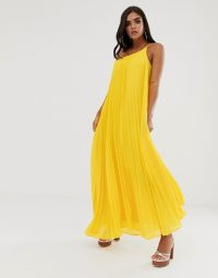 Missguided one shoulder pleated maxi dress in mustard