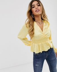 Missguided satin blouse with shirred waist and peplum hem in yellow animal print