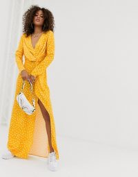 Missguided Tall Exclusive satin wrap dress with thigh split in yellow polka