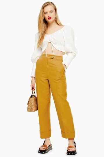 Topshop Mustard Turn Up Peg Trousers