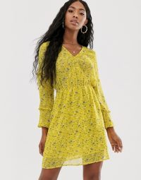 NA-KD V-neck floral print mini dress in yellow