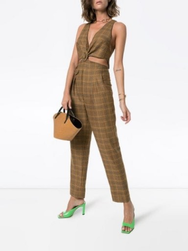 NANUSHKA Amor cut-out check jumpsuit