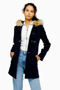 TOPSHOP Navy Faux Fur Hooded Coat