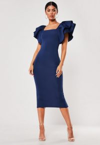 Missguided navy square neck scuba midi dress | extreme ruffles