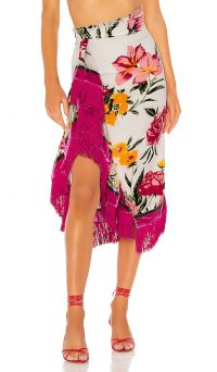 NBD Alaina Midi Skirt Hot Pink & Ivory | fringed summer skirts