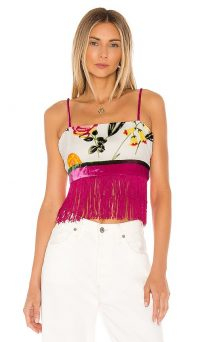 NBD Alaina Top Hot Pink & Ivory | fringed skinny strap crop top
