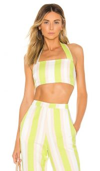 NBD Ayesha Halter Top Lime & Ivory | fresh look summer halterneck