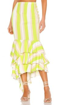 NBD Ayesha Midi Skirt Lime & Ivory | striped summer skirts
