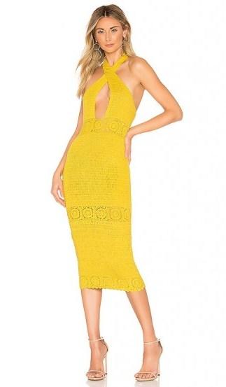 NBD Brandy Midi Dress in Canary Yellow - flipped