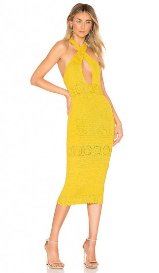 NBD Brandy Midi Dress in Canary Yellow
