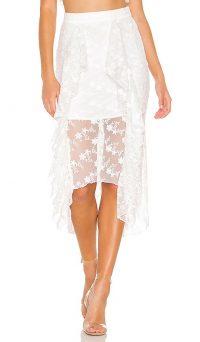 NBD Mollie Midi Skirt Star White | semi sheer ruffled skirts