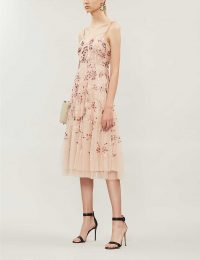 NEEDLE AND THREAD Valentina sequin-embellished tulle midi dress in rose-quartz