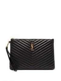 SAINT LAURENT New Jolie logo quilted-leather pouch ~ chic black clutch