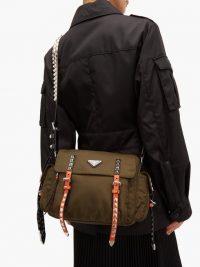 PRADA New Vela studded nylon shoulder bag in khaki-green ~ military style handbag