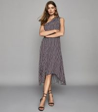 REISS NIA PRINTED ASYMMETRIC MIDI DRESS BERRY ~ one shoulder evening dresses
