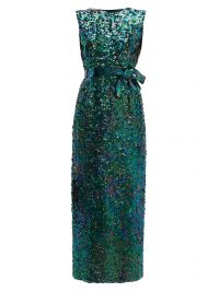 WILLIAM VINTAGE Norman Norell 1965 Mermaid sequinned gown in green | vintage event wear