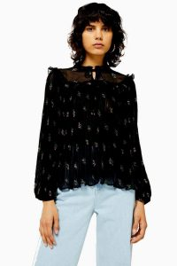 Topshop OAKLAND Embellished Floral Pleated Blouse in Black