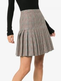 Off-White Pleated Check Wool Skirt