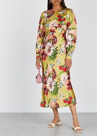 OLIVIA VON HALLE Aureta Havana floral-print silk midi dress / silky bias-cut dresses