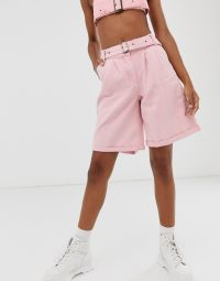One Above Another high waist shorts in vintage-pink wash denim co-ord