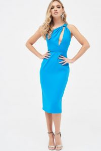 LAVISH ALICE one shoulder cutout midi dress in azure blue ~ asymmetric neckline dresses