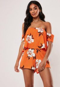 MISSGUIDED orange floral overlay bardot playsuit